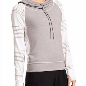 Athleta Limitless Hoodie Mesh Raglan Pullover Gray